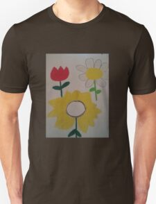 Oil Pastel Flower Picture T-Shirt