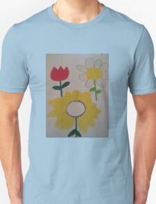 Oil Pastel Flower Picture T-Shirt