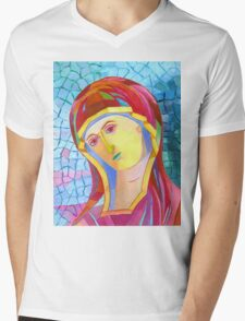 Holy Mary with Child byzantine icon Mens V-Neck T-Shirt