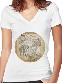 Vintage Africa Women's Fitted V-Neck T-Shirt