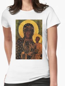 Virgin Mary Black Madonna of Czestochowa Womens Fitted T-Shirt