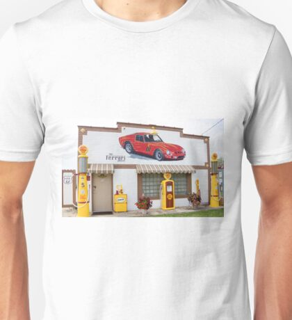 Restored Route 66 garage at Dwight. Unisex T-Shirt
