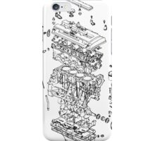 Honda B Series Engine Exploded Blueprint - Black iPhone Case/Skin