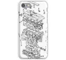 Honda B Series Engine Exploded Blueprint - Black iPhone Case/Skin