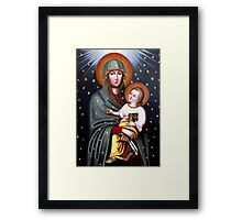 Holy Mary of Fatima with Child religious catholic icon Framed Print