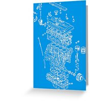 Honda B Series Engine Exploded Blueprint - White Greeting Card