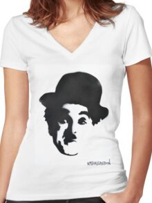 Charlie Chaplin Spray Paint Portrait Women's Fitted V-Neck T-Shirt