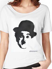 Charlie Chaplin Spray Paint Portrait Women's Relaxed Fit T-Shirt
