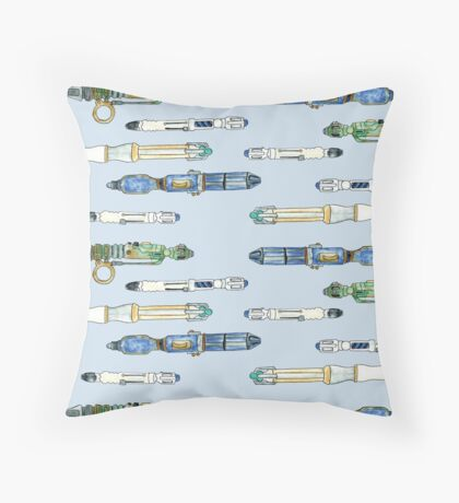 Doctor Who watercolor Sonic Screwdrivers Throw Pillow