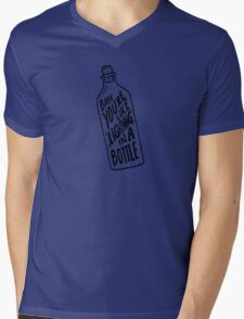 BOTTLE BLACK Mens V-Neck T-Shirt