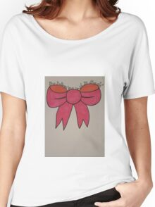 Pretty pink bow with quote Women's Relaxed Fit T-Shirt