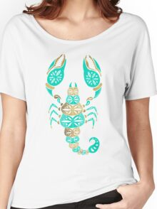 Scorpion – Turquoise & Gold Women's Relaxed Fit T-Shirt
