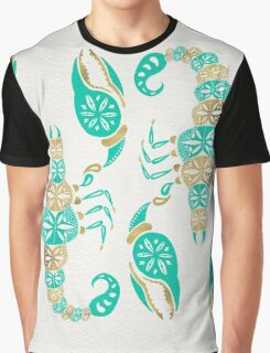 Scorpion – Turquoise & Gold Graphic T-Shirt