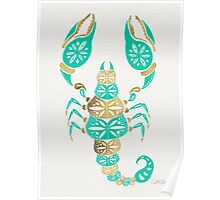 Scorpion – Turquoise & Gold Poster