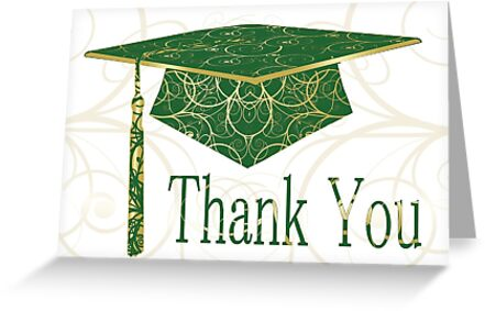 Green & Gold Floral Cap Thank You Card  by treasured-gift