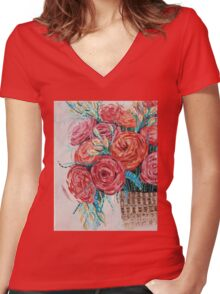 Floral Women's Fitted V-Neck T-Shirt