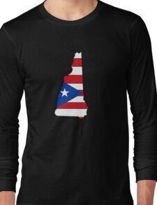 Puerto Rico flag New Hampshire outline Long Sleeve T-Shirt