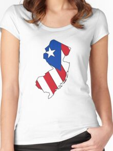 Puerto Rico flag New Jersey outline Women's Fitted Scoop T-Shirt