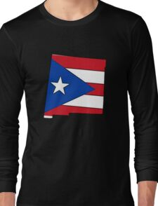 Puerto Rico flag New Mexico outline Long Sleeve T-Shirt