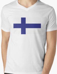 National Flag of Finland Mens V-Neck T-Shirt