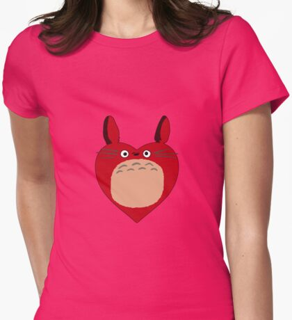 Valentines Totoro Womens Fitted T-Shirt