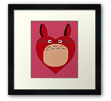 Valentines Totoro Framed Print