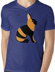 Black Japanese Rabbit Mens V-Neck T-Shirt