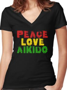 Peace Love Aikido Women's Fitted V-Neck T-Shirt