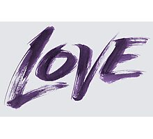 Bold Purple Zen Brush Love Hand Lettering - Fashionable Artistic Calligraphy Word for Valentine Photographic Print