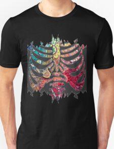 Rainbow Ripped Ribcage White Background T-Shirt