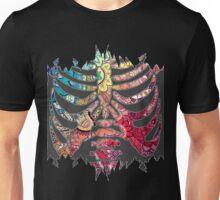 Rainbow Ripped Ribcage White Background Unisex T-Shirt