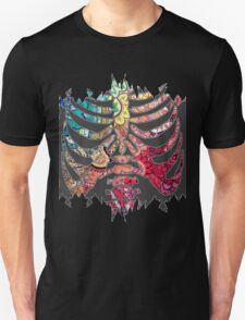 Rainbow Ripped Ribcage White Background T-Shirt