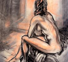 Sitting by the fire - female nude by Roz McQuillan