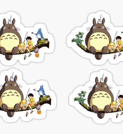 Totoro on branch (4 stickers) Sticker