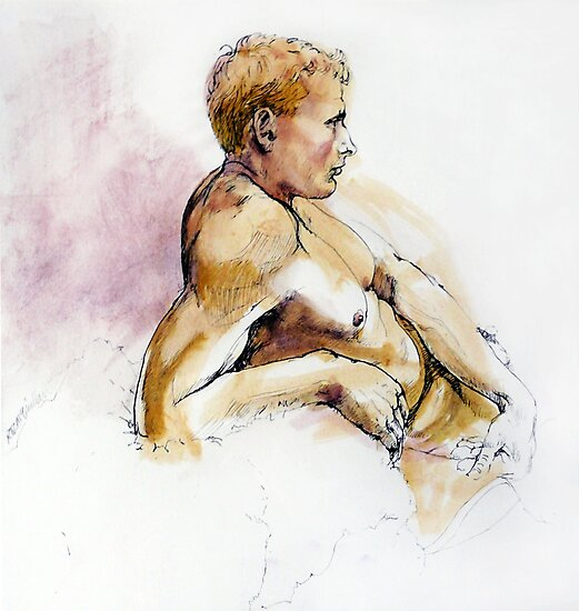 Male nude, portrait in ink and wash by Roz McQuillan