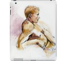 Male nude, portrait in ink and wash iPad Case/Skin