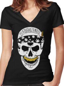 Flatbush Zombies White Skull Tee Women's Fitted V-Neck T-Shirt