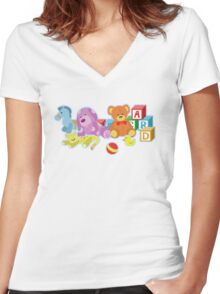 Cute Dolls (Blue) Women's Fitted V-Neck T-Shirt