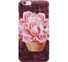 Basket With Pink Roses iPhone Case/Skin