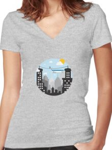 Cut Copy Paste Women's Fitted V-Neck T-Shirt