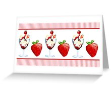 Strawberry Ice Cream Sundae Vanilla Chocolate Pink Stripes Greeting Card