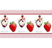 Strawberry Sundae Sweet Treat Vanilla Chocolate Pink Stripes Photographic Print