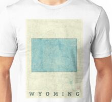 Wyoming State Map Blue Vintage Unisex T-Shirt