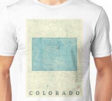 Colorado State Map Blue Vintage Unisex T-Shirt