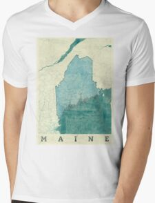 Maine Map Blue Vintage Mens V-Neck T-Shirt