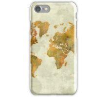 World Map Yellow Vintage iPhone Case/Skin
