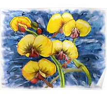 Bacon & Eggs Abstract Flower Painting Poster