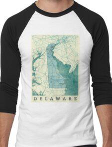 Delaware Map Blue Vintage Men's Baseball ¾ T-Shirt