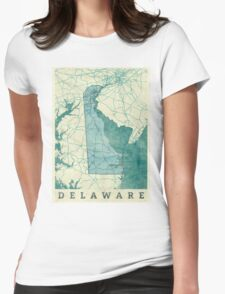 Delaware Map Blue Vintage Womens Fitted T-Shirt