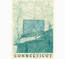 Connecticut Map Blue Vintage Unisex T-Shirt